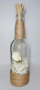 Bottiglia In Vetro Con Conchiglie Bianche Cm 8 H. 32