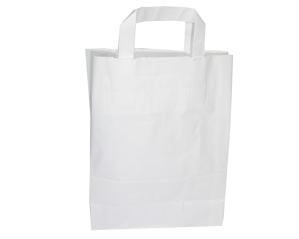 Pz 50 Buste Kraft Bianche In Carta 22x10x28 Cm Shopping Bags Con Manico
