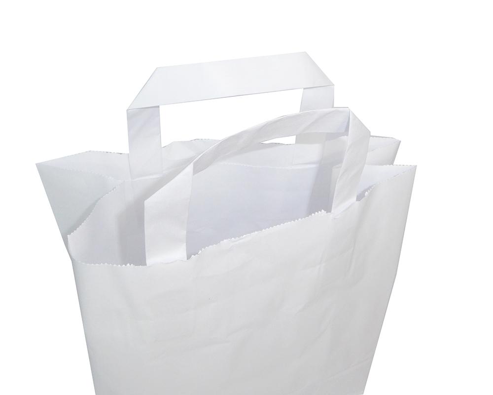 Pz 50 Buste Kraft Bianche In Carta 18x8x22 Cm Shopping Bags Con Manico