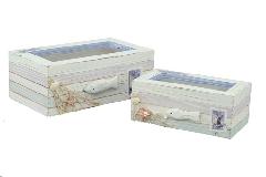 S/2 Scatola Mare In Legno E Vetro Con Rete E Pesce Arredo