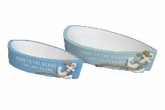 S/2 Barca Mare In Legno Bianco/Azzurro Decorazione E Arredo