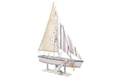Decorazione Barca C/Ancora Gigante Legno Cm 124x20xH.161,5