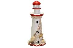 Faro Legno Decorato Rosso H.38.5 Decorazione Linea Mare C/conchiglie