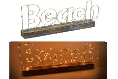 Decorazione Arredo Mare Legno E Mettalo Con Led Beach CM42X5,5H21
