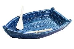 Svuotatasche Barca Mare Ceramica Blu CM21,3X13XH.7 Decorazione Arredo