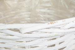 Cachepot Bianco Treccia D.18 H.16 Cm In Cesto Legno Vimini Interno Rivestito