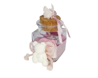 Bomboniera Barattolo Vetro Con Orsetto Gesso Rosa