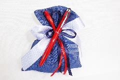 Bomboniera Sacchetto Cotone Blu Jeans Con Penna Touch Rossa