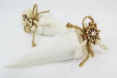 Bomboniera Cono Tessuto Applicazione Timone/Ancora Linea Mare Matrimonio Wedding