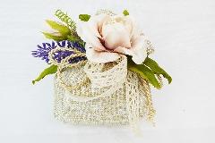 Bomboniera Sacchetto Simil Juta Oro Pick Fiore E Lavanda Wedding