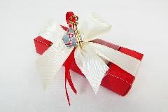 Bomboniera Astuccio Rossa Con Applicazione Simbolo Cresima Metallo