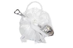 Bomboniere Sacchetto Bianco 15 Cm Con Fiore Matrimonio Infusore Da Tea
