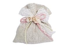 Bomboniere Sacchetto Cotone Ecru 12 Cm Con Fiorellini Per Matrimonio