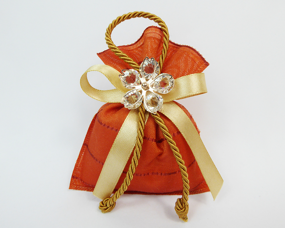 Bomboniera Sacchetto 10 Cm Ocra Fiore Metallo E Diamanti Wedding