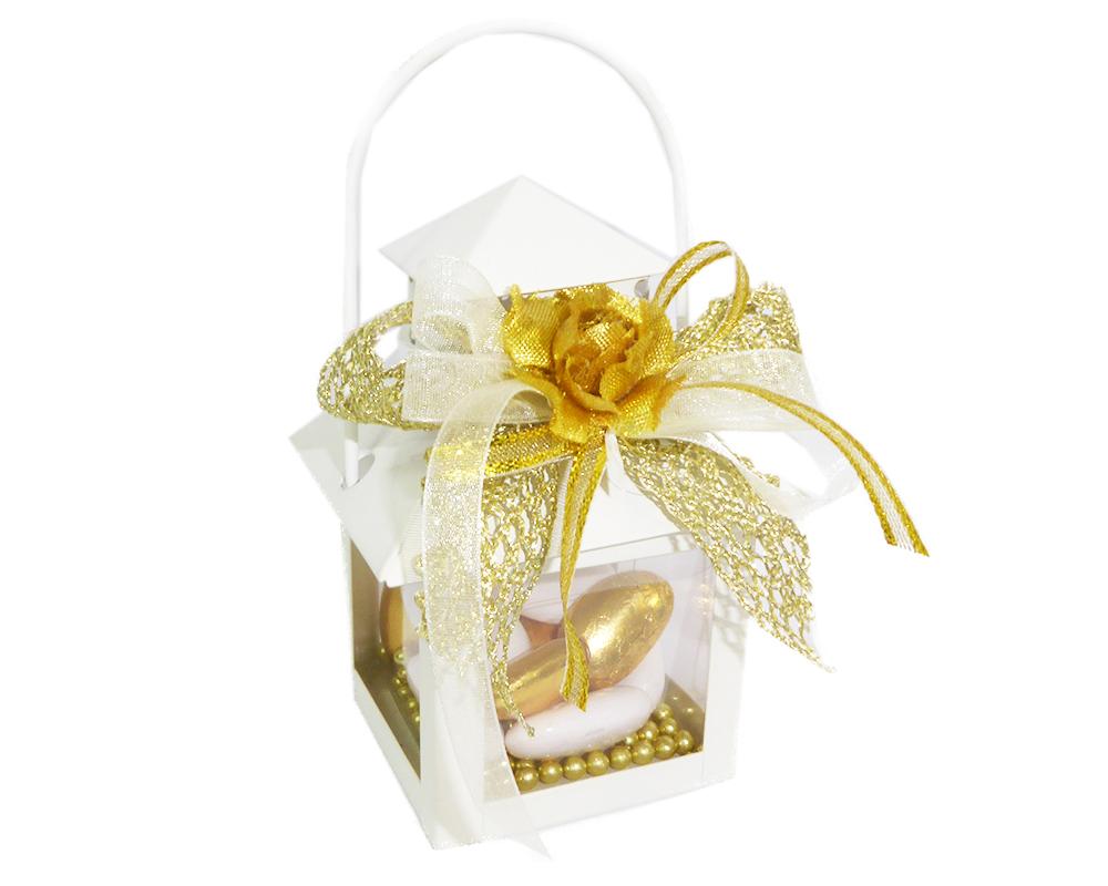 Bomboniera Lanterna Metallo Nozze D'oro Con Fiore Dorato 6x6x14 Cm