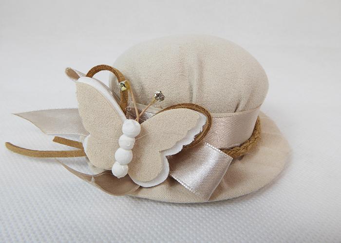 Portaconfetto Cappello Con Farfallain Tessuto  D.10 Cm