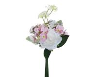 Mazzetto Rosa Ortensia X4 Rametti Composizione Floreale