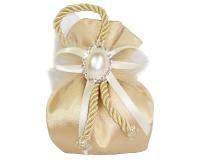 Bomboniera Sacchetto ORO Applicazione Cameo Con Strass Nozze D'oro Wedding