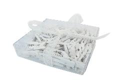 Pz 100 Mollettine Legno Micro 2,5 Cm Bianche Per Decorazioni Bomboniere
