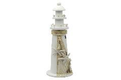 Faro Legno Bianco Cm 44.5 Decorazione Arredo Linea Mare