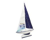 Barca Legno Bianca E Blu 18x5 H. 37 Decorazione Linea Mare