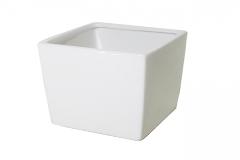 Cubo Ceramica Bianca 7x7x7 Cm Vasetto Per Piantine Arredo Bomboniera