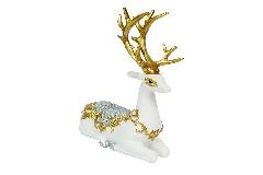 Cervo Bianco/oro Poliresina Cm 16x7x21