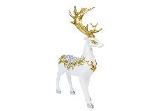 Cervo Bianco/oro Poliresina Cm 16,5x7x29,5