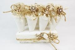 Vassoio con 12 Coni Bomboniere Mare Timone/Ancora Legno wedding