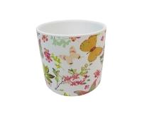 Vaso Tondo Farfalle D. 16 H. 15,5 Ceramica Composizione Floreale