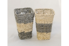 """Vaso Base Quadra """"rope"""" Da 13x13x20 Cm"""