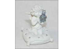 Angelo Seduto Bianco/argento decorazione arredo Natale
