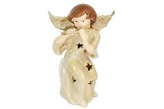 Angelo Ceramica Smaltata Con Luce Led Cm 21 Decorazioni Addobbi Natale