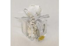 Bomboniera Mini Confettata Plexiglass Con Rosa Argento