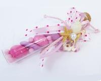 Bomboniera Fiala Rosa Linea Mare conchiglie naturali cm 15