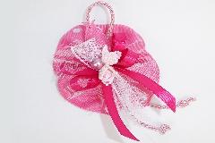 Bomboniera Sacchetto Farfalla Grosgrain Rosa C/fiorellini E Perla