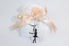 Bomboniera Sacchetto C/portachiave Ballerina Metallo Fiore Organza Strass