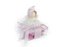 Bomboniera Scatola Plexiglass Con Angelo Rosa In Ceramica 6x6x8 Cm