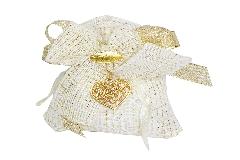 Bomboniera Sacchetto Lux 12 Cm Nozze D Oro 50esimo Ciondolo Cuore Oro