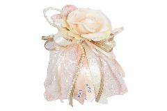 Bomboniera Sacchetto A Rete Rosa 12 Cm Fiore Cipria Filo Perle Matrimonio