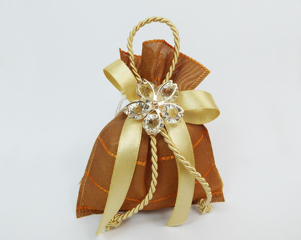 Bomboniera Sacchetto 10 Cm Marrone Fiore Metallo E Diamanti Wedding