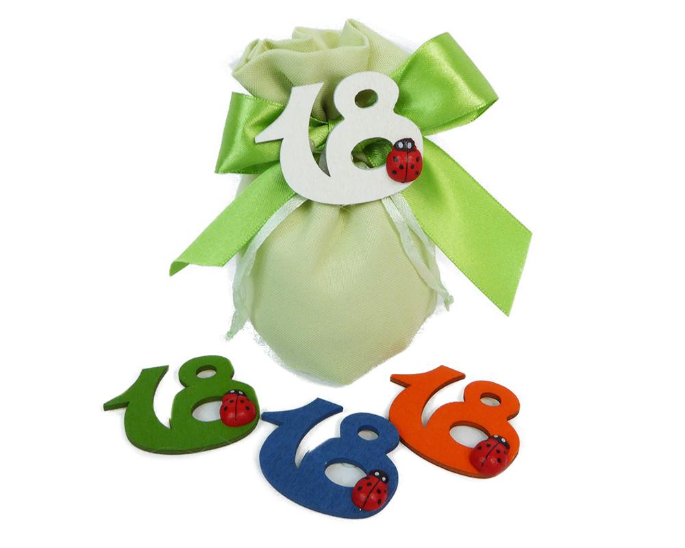 Bomboniere Sacchetto Verde Diciottesimo Numero Legno Con Coccinella 7x10 Cm